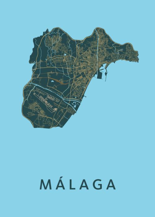 Málaga Azure Stadskaart Poster   Kunst in Kaart