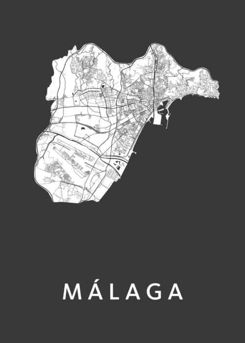 Málaga Black Stadskaart Poster   Kunst in Kaart