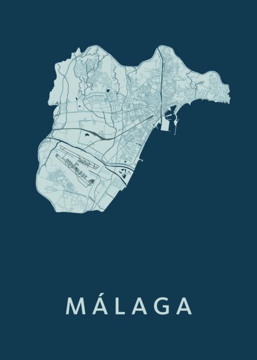 Málaga Feldgrau Stadskaart Poster   Kunst in Kaart