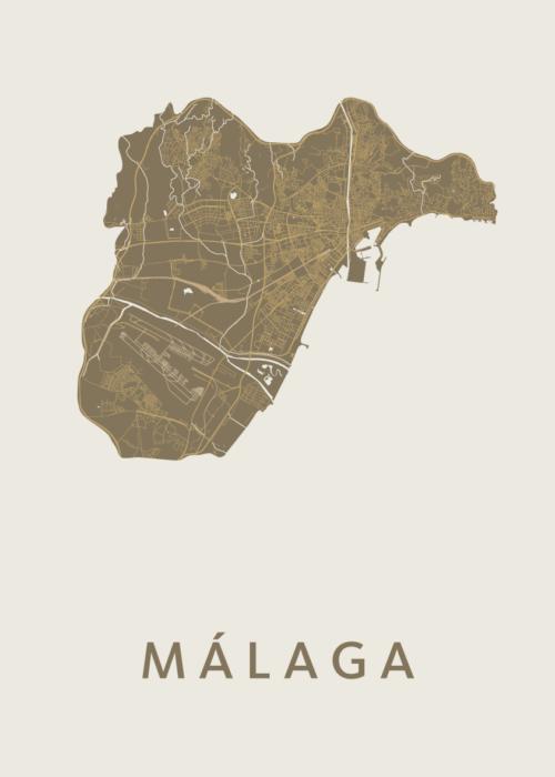 Málaga Gold Stadskaart Poster   Kunst in Kaart