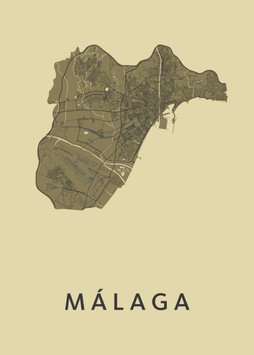 Málaga GoldenRod Stadskaart Poster   Kunst in Kaart