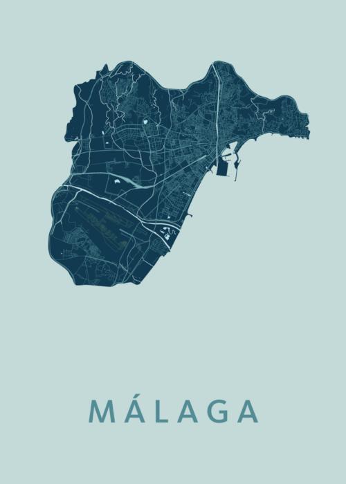 Málaga Mint Stadskaart Poster   Kunst in Kaart