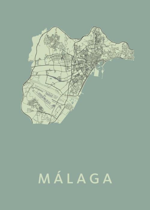 Málaga Olive Stadskaart Poster   Kunst in Kaart