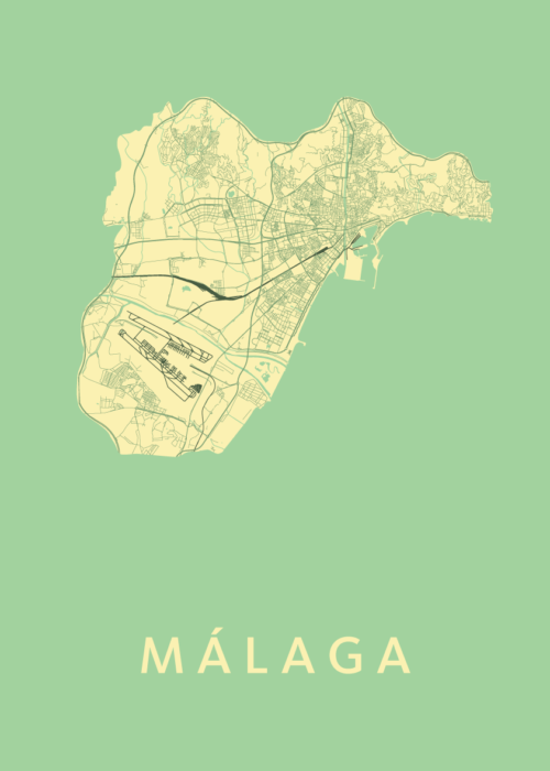 Málaga Spring Stadskaart Poster   Kunst in Kaart