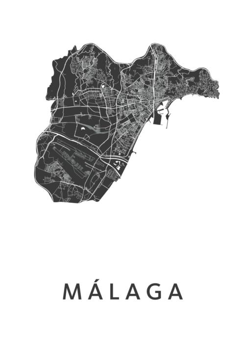 Málaga White Stadskaart Poster   Kunst in Kaart