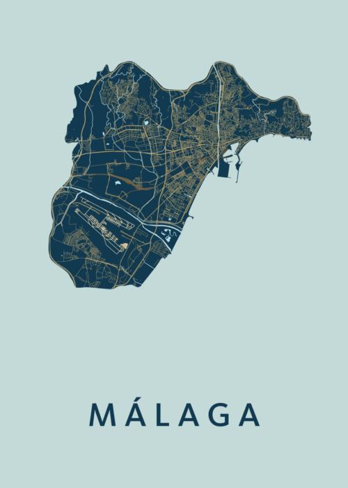 Málaga Prussian Stadskaart Poster   Kunst in Kaart