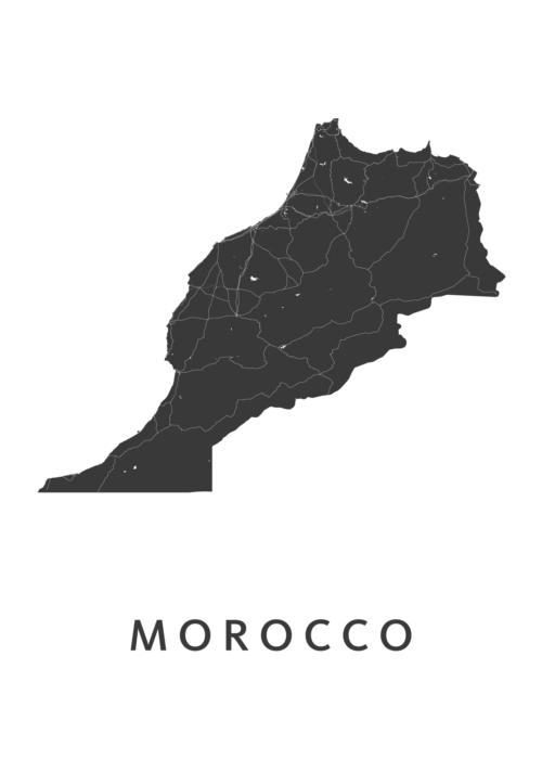 Marocco White B2 stadskaart poster