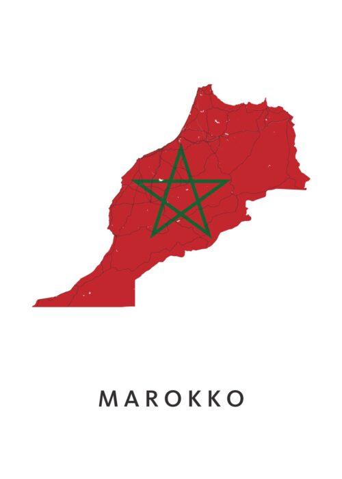 Marokko Landkaart - Landvlag - Poster