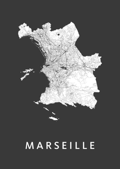 Marseille Black Stadskaart Poster   Kunst in Kaart