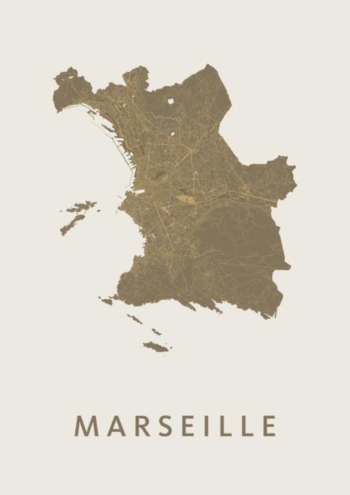 Marseille Gold Stadskaart Poster   Kunst in Kaart