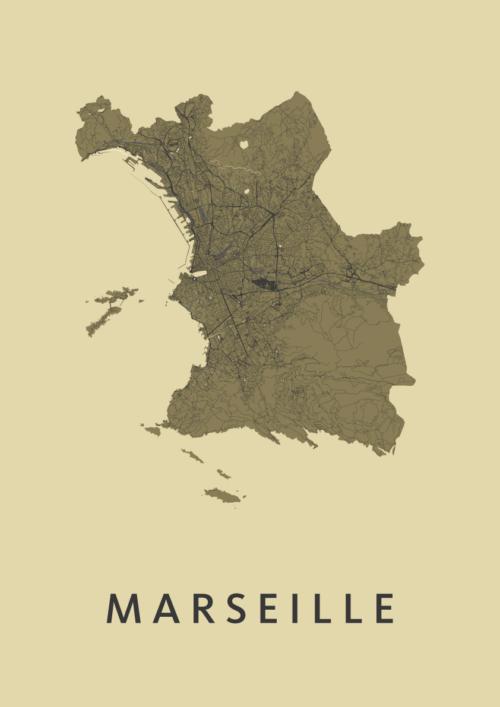 Marseille GoldenRod Stadskaart Poster | Kunst in Kaart