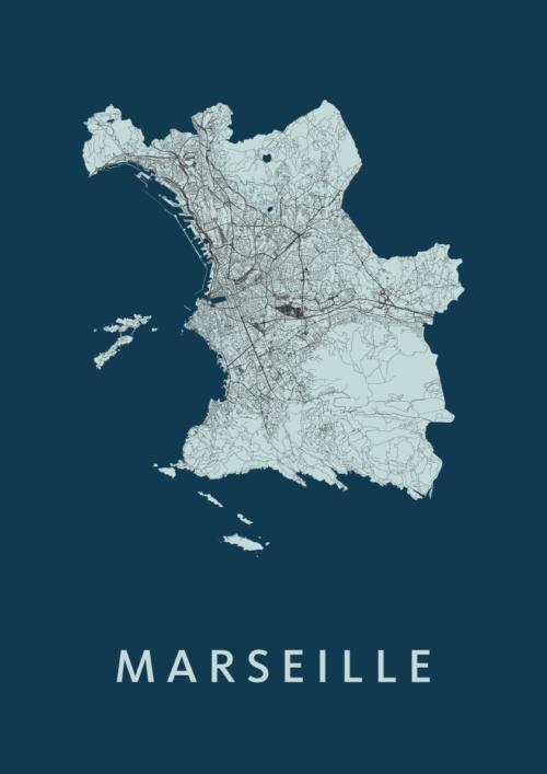 Marseille Navy Stadskaart Poster | Kunst in Kaart