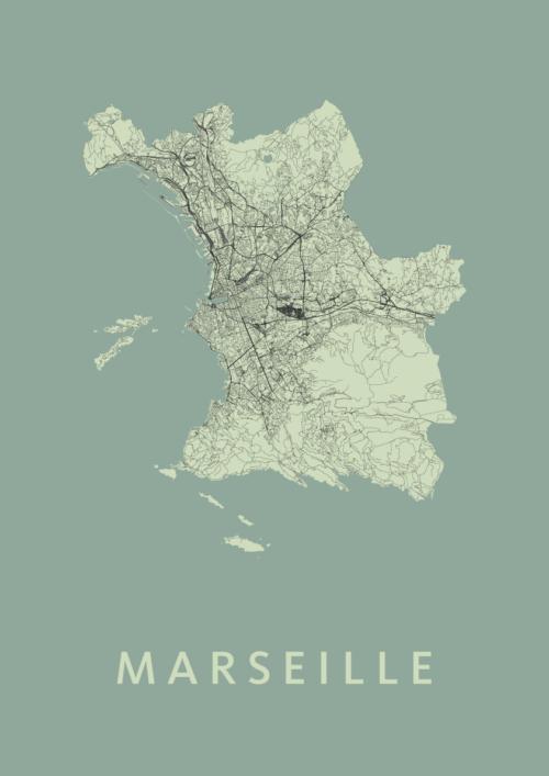 Marseille Olive Stadskaart Poster | Kunst in Kaart