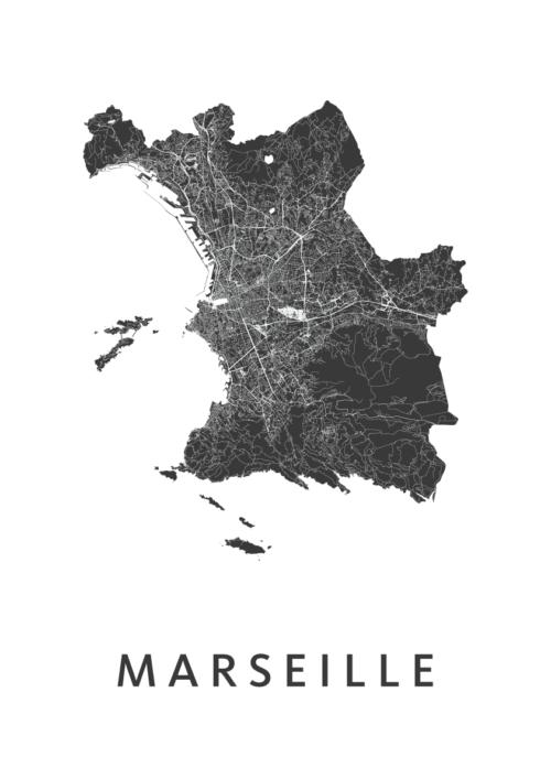 Marseille White Stadskaart Poster | Kunst in Kaart
