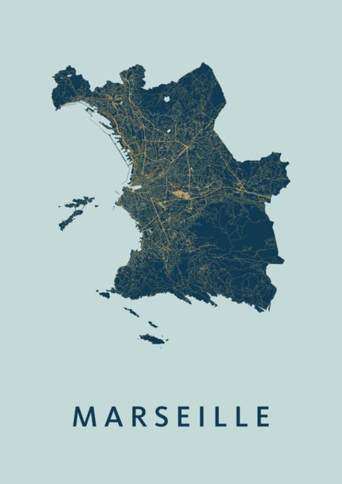 Marseille Prussian Stadskaart Poster | Kunst in Kaart