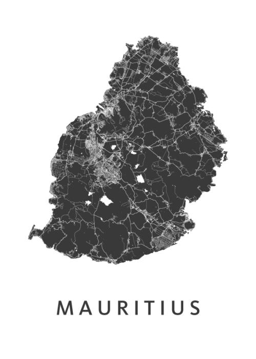 Mauritius Eiland kaart - Wit | Kunst in Kaart