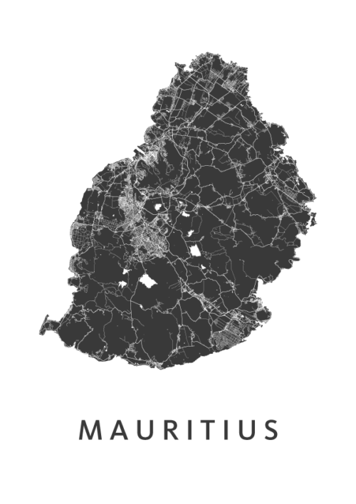 Mauritius Eiland kaart - Wit   Kunst in Kaart