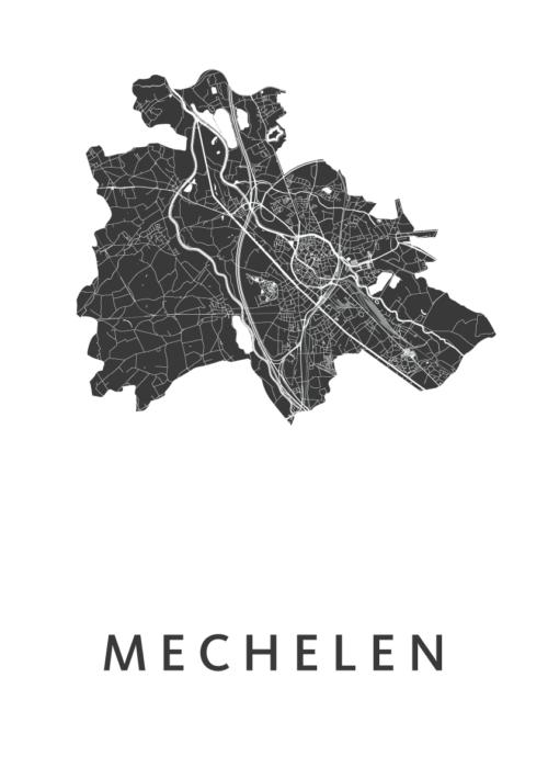 Mechelen White Stadskaart Poster | Kunst in Kaart