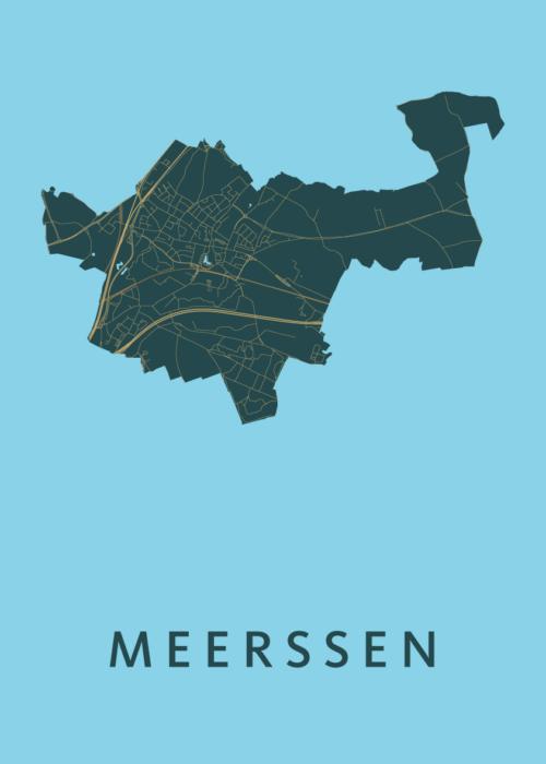 Meerssen Azure Stadskaart Poster   Kunst in Kaart