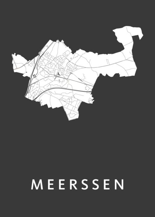 Meerssen Black Stadskaart Poster   Kunst in Kaart