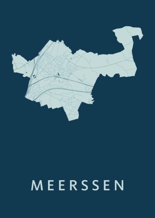 Meerssen Feldgrau Stadskaart Poster   Kunst in Kaart