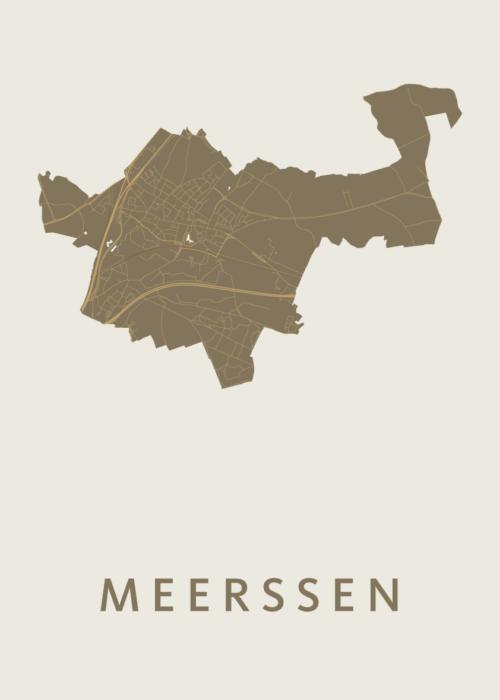 Meerssen Gold Stadskaart Poster   Kunst in Kaart