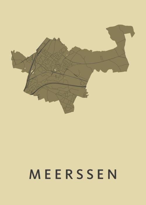 Meerssen GoldenRod Stadskaart Poster   Kunst in Kaart