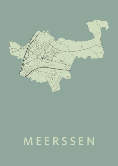 Meerssen Olive Stadskaart Poster   Kunst in Kaart