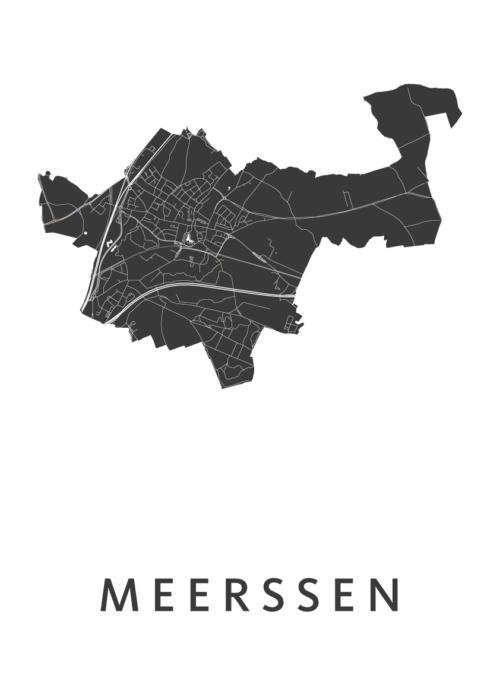 Meerssen White Stadskaart Poster | Kunst in Kaart