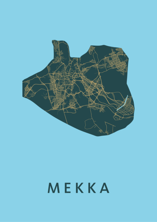 Mekka Azure Stadskaart Poster | Kunst in Kaart