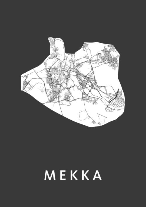 Mekka Black Stadskaart Poster | Kunst in Kaart