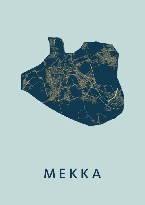 Mekka Prussian Stadskaart Poster   Kunst in Kaart