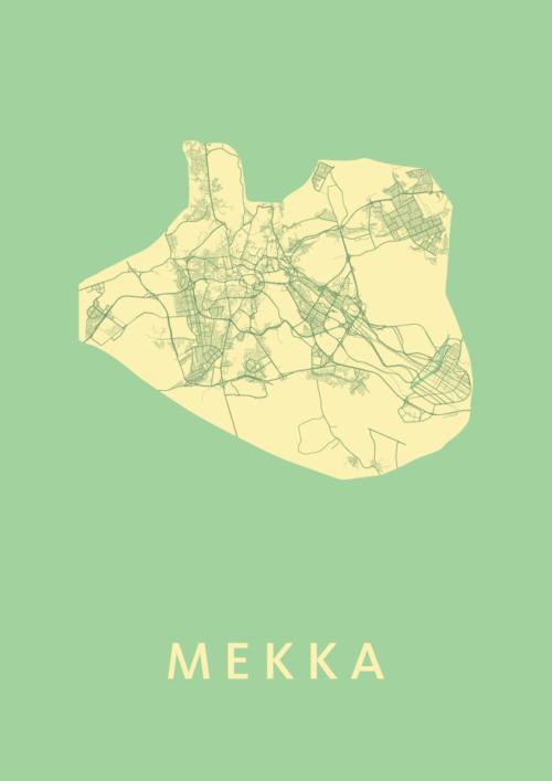 Mekka Spring Stadskaart Poster   Kunst in Kaart