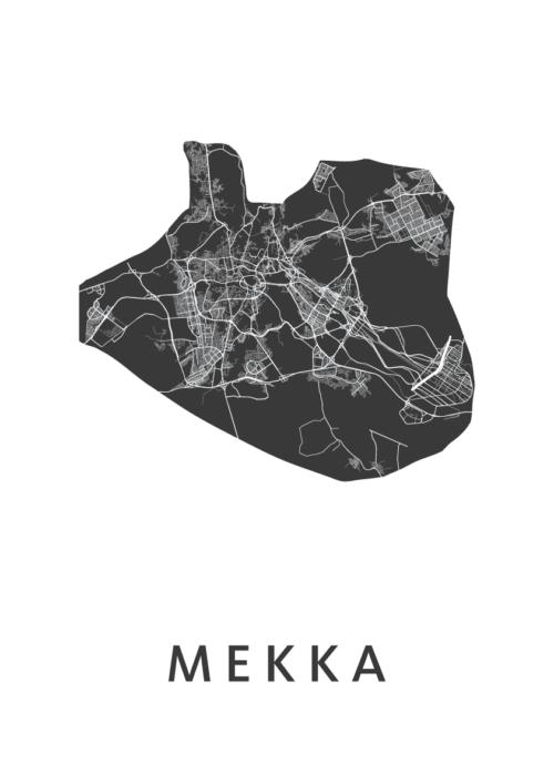 Mekka White Stadskaart Poster   Kunst in Kaart