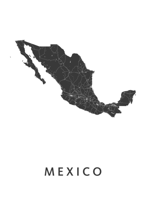 Mexico Country Map stadskaart poster
