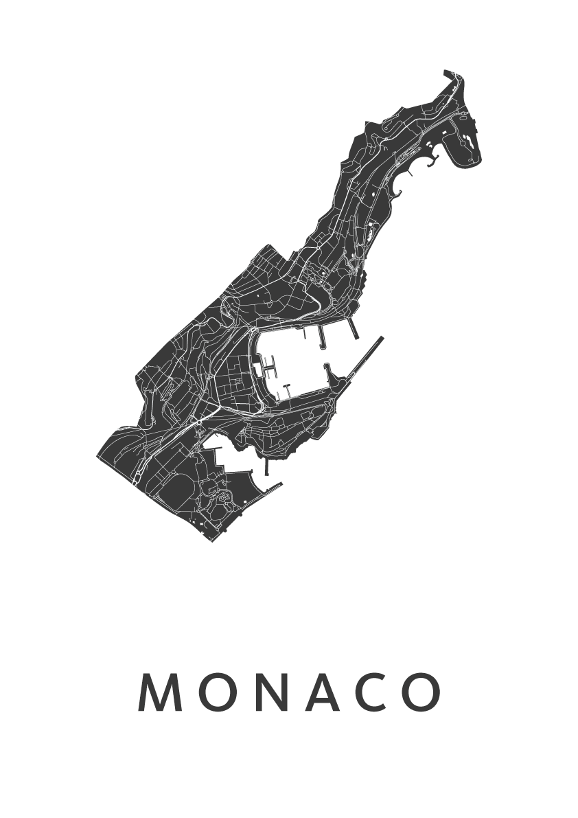 Monaco Country Map stadskaart poster