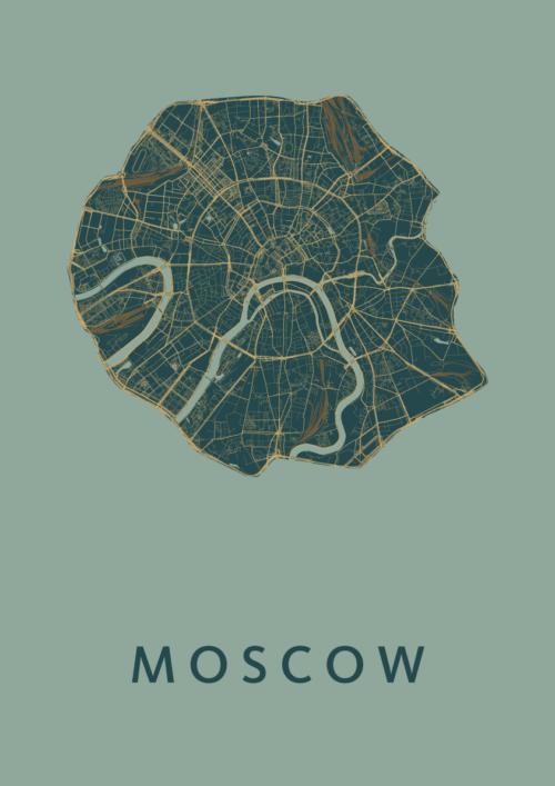 Moscow Amazon Stadskaart Poster   Kunst in Kaart