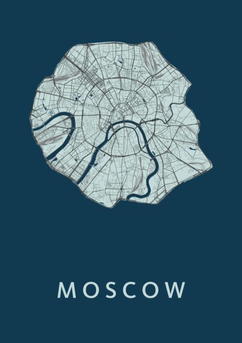 Moscow Navy Stadskaart Poster | Kunst in Kaart