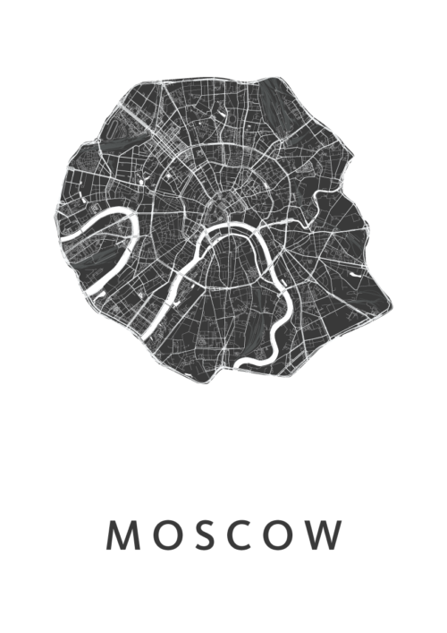 Moscow White Stadskaart Poster   Kunst in Kaart