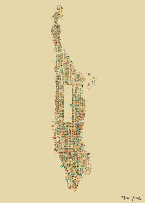 New York Autumn Mosaic Map