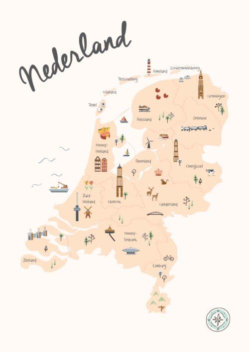 Nederland in Kaart Beige met topografie