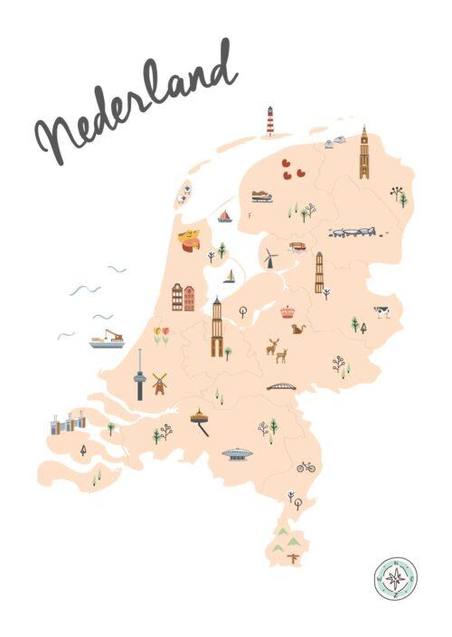Geïllustreerde kaart van Nederland Beige