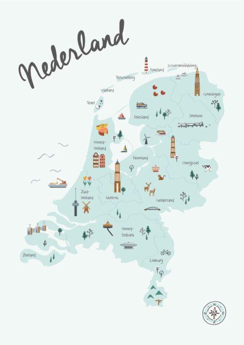 Nederland in Kaart Blauw met topografie