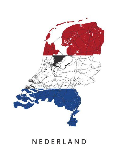 Nederland Landkaart - Landvlag - Poster