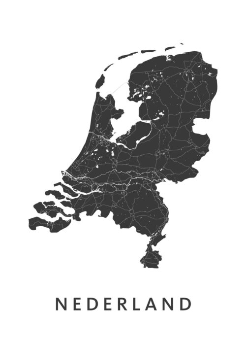 Nederland Country Map stadskaart poster