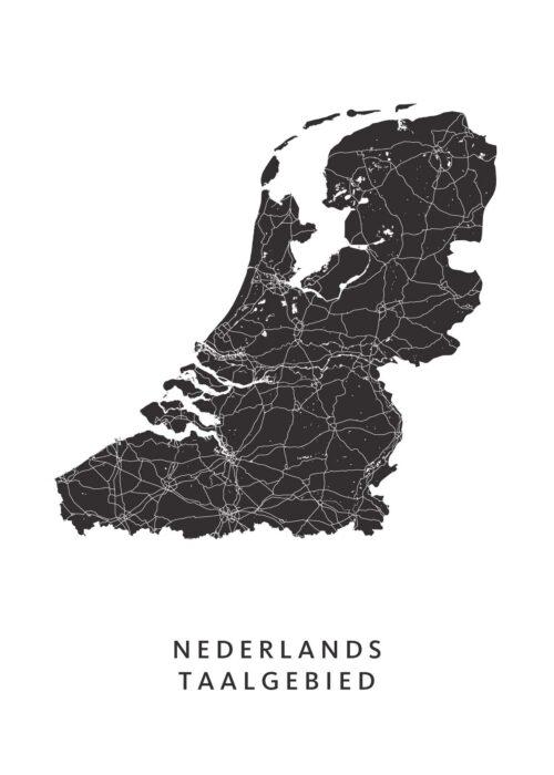 Nederlands taalgebied kaart Poster
