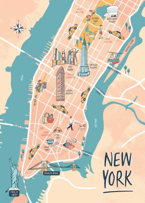 Geïllustreerde kaart - New York Poster