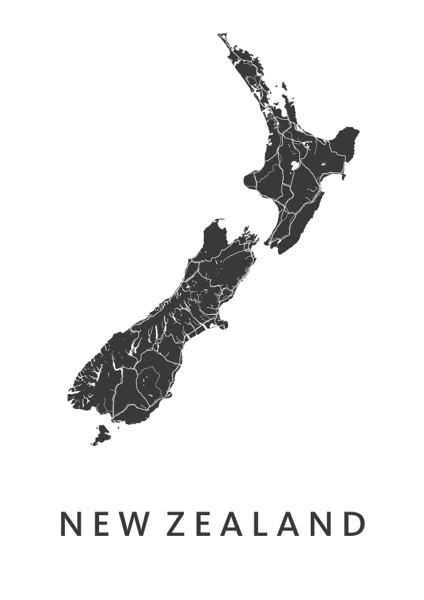 Newzealand White stadskaart poster