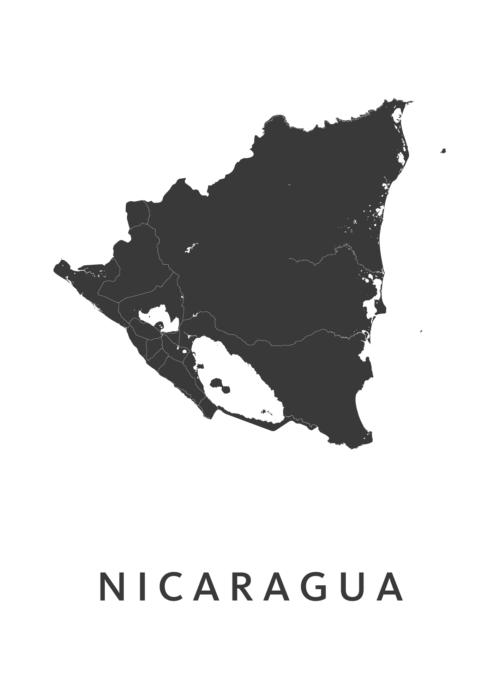 Nicaragua Country Map stadskaart poster