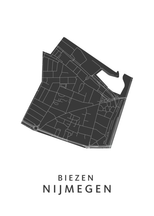 Nijmegen - Biezen White Stadskaart Poster | Kunst in Kaart